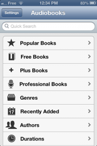 screenshot Audiobooks app review