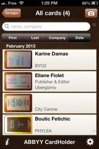screenshot ABBYY CardHolder app review