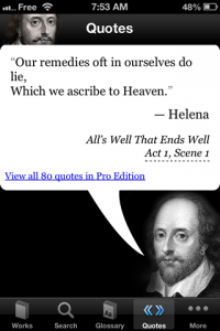 screenshot Shakespeare app review